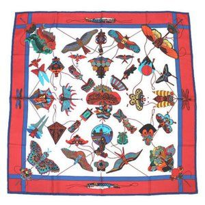 HERMES Carre 90 Silk 100% Scarf Stole Red